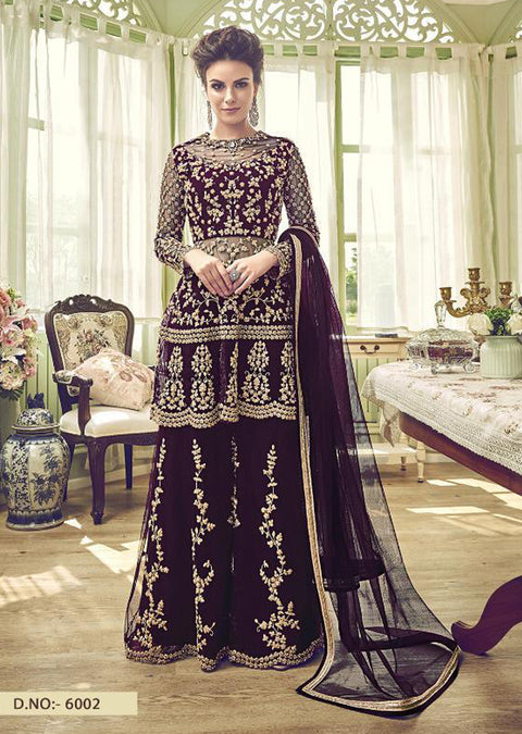 Unstitched - Purple - Violet Inspired Gharara Sharara Suit - Indian heavily embroidered Unique ethnic traditional dress - Memsaab Online