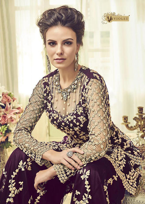 6002 - Unstitched - Purple - Violet Inspired Gharara Sharara Suit - Indian heavily embroidered Unique ethnic traditional dress - Memsaab Online