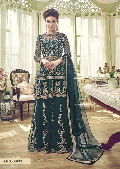 6002 - Unstitched - Teal - Violet Inspired Gharara Sharara Suit - Indian heavily embroidered Unique ethnic traditional dress - Memsaab Online