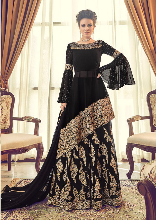 6005 Unstitched - Black- Violet Inspired Gown - Indian Ethnic Indo Western Style Skirt Suit - Memsaab Online