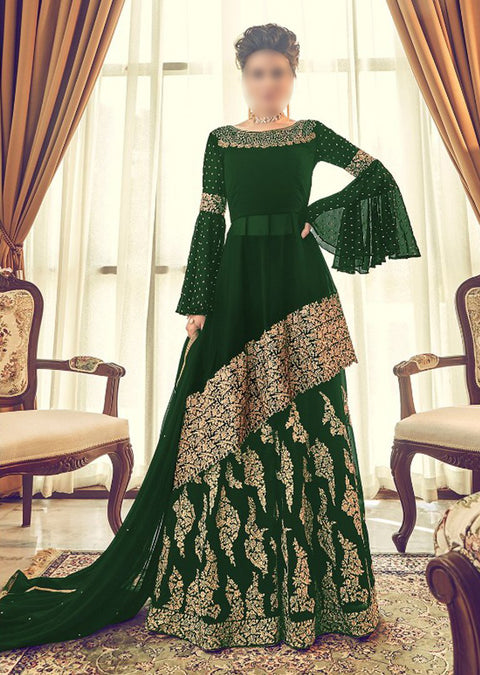 6005 Unstitched - Green - Violet Inspired Gown - Indian Ethnic Indo Western Style Skirt Suit - Memsaab Online