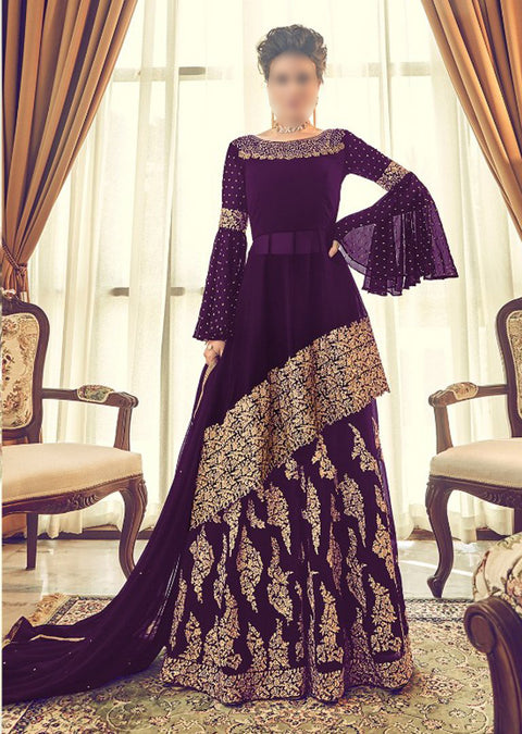 6005 Unstitched - Purple - Violet Inspired Gown - Indian Ethnic Indo Western Style Skirt Suit - Memsaab Online
