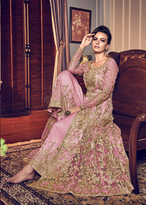6006 - Unstitched - C - Violet Inspired Dress - Indian heavily embroidered slit style net suit - Memsaab Online