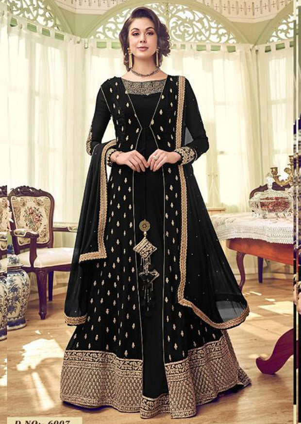 6007 - Black - Unstitched Swagat inspired Georgette Jacket Style Suit - Memsaab Online