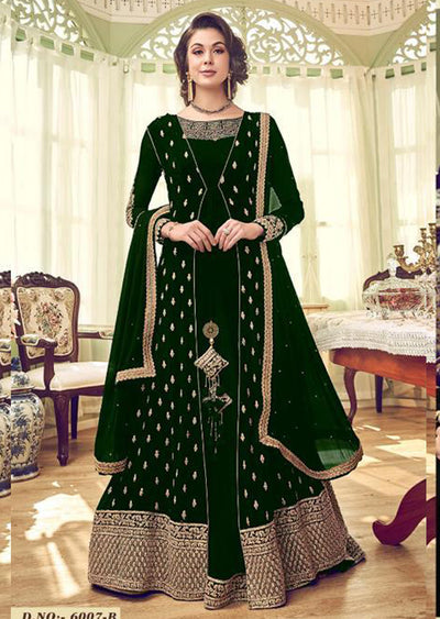 Green - Unstitched Swagat inspired Georgette Jacket Style Suit - Memsaab Online