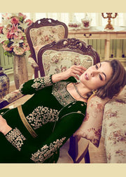 6007 - Green - Unstitched Swagat inspired Georgette Jacket Style Suit - Memsaab Online
