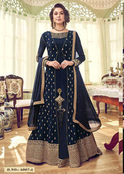 6007 - Navy - Unstitched Swagat inspired Georgette Jacket Style Suit - Memsaab Online