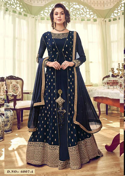 Navy - Unstitched Swagat inspired Georgette Jacket Style Suit - Memsaab Online