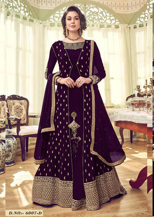 6007 - Purple - Unstitched Swagat inspired Georgette Jacket Style Suit - Memsaab Online