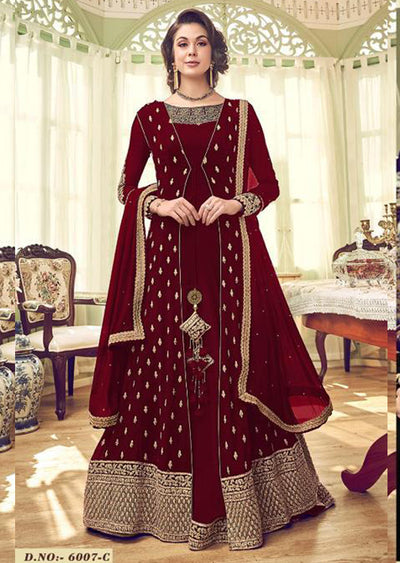 6007 - Red - Unstitched Swagat inspired Georgette Jacket Style Suit - Memsaab Online