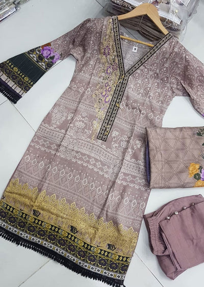 ZAS601 Readymade Khaddar Suit with Wool Shawl - Memsaab Online