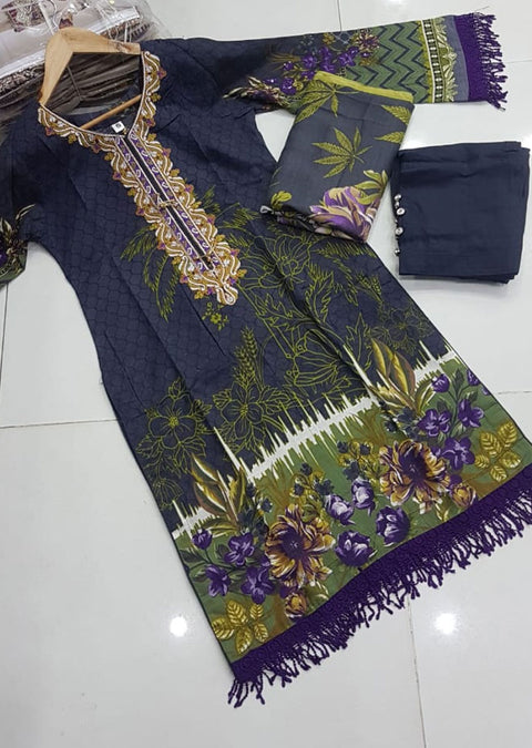 ZAS603 Readymade Khaddar Suit with Wool Shawl - Memsaab Online