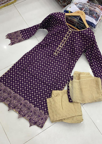 ZAS610 Readymade Purple Chicken Suit - Memsaab Online
