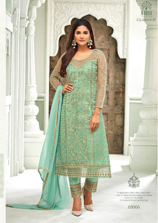 63006 Mohini Glamour Vol 63 - Net Pakistani Style Kameez Suits with Handwork - Memsaab Online
