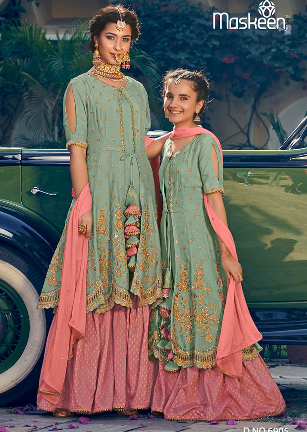 6905- Mint - Maisha Riwayat - Indian Partywear Dress and shararah collection for mother and daughter Eid Collection 2019 - Memsaab Online