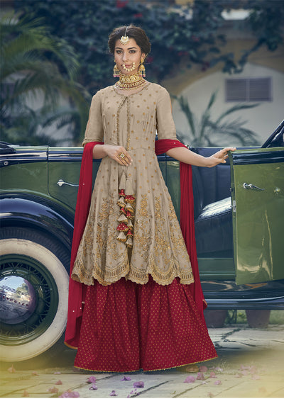 6905- Beige - Maisha Riwayat - Indian Partywear Dress and shararah collection for mother and daughter Eid Collection 2019 - Memsaab Online