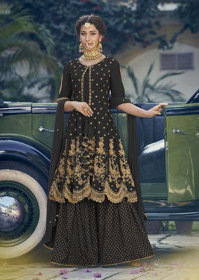 Black - Maisha Riwayat - Indian Partywear Dress and shararah collection for mother and daughter Eid Collection 2019 - Memsaab Online