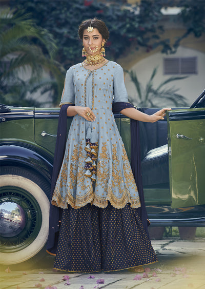 6905- Blue - Maisha Riwayat - Indian Partywear Dress and shararah collection for mother and daughter Eid Collection 2019 - Memsaab Online