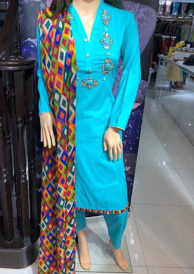SD01 Sea Green Readymade Lawn Suit with Handwork - Memsaab Online