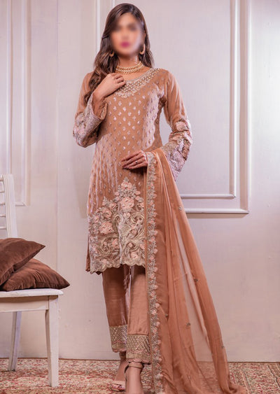 0372 Readymade Peach Chiffon Embroidered Suit - Memsaab Online