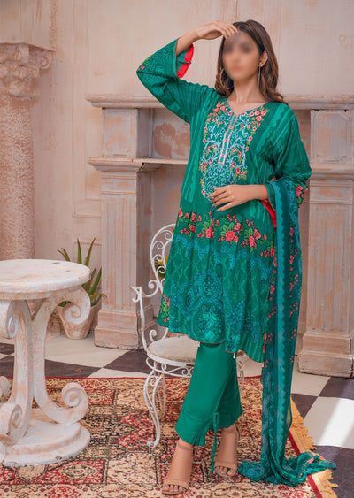 AMT20020 A -Readymade Sea Green Embroidered Lawn Suit - Memsaab Online