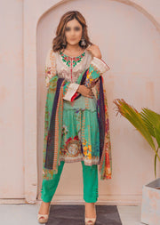 AMT200017 - Readymade Green Embroidered Lawn Suit - Memsaab Online