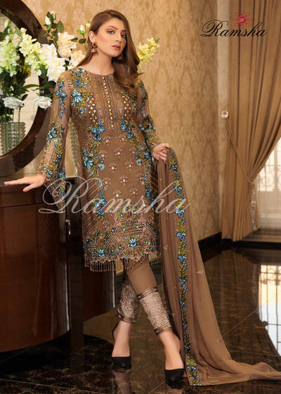 F - 1606 Ramsha Vol 16 - Readymade Eid Embroidered Chiffon Collection 2019 Pakistani Designer wear - Memsaab Online