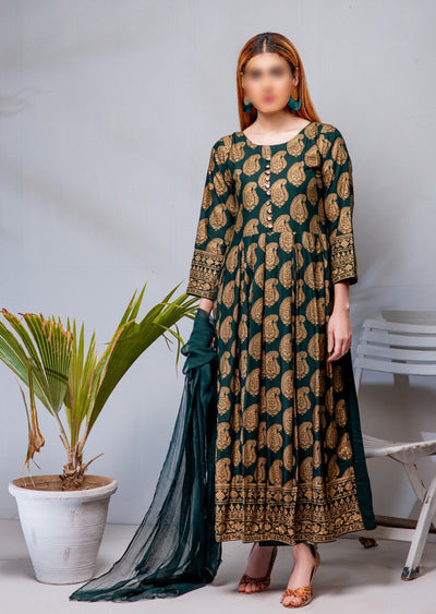 HK17 Readymade Green Pleated Long Linen Suit - Memsaab Online