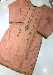BJ703 Beejays Pink Mirror work Jammawar Cotton Suit - Memsaab Online
