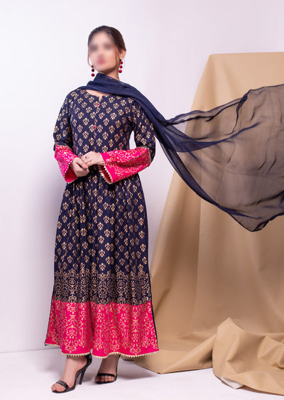 HK51 Navy Block Print Linen Dress - Memsaab Online