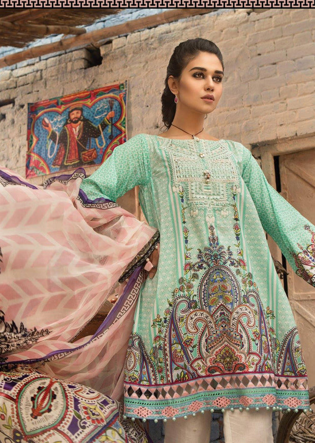6B Maria B M Prints Unstitched 2019 - Pakistani Designer Embroidered Lawn Suit Spring / Summer UK DELIVERY - Memsaab Online