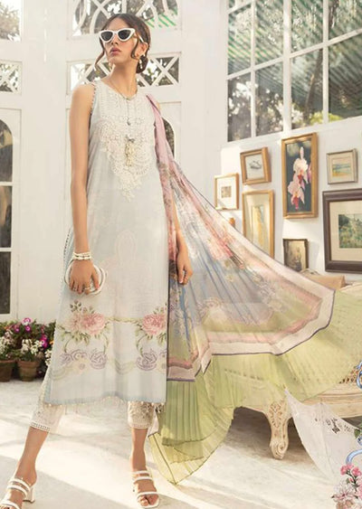 6B Unstitched Maria B Inspired Linen Suit - Memsaab Online