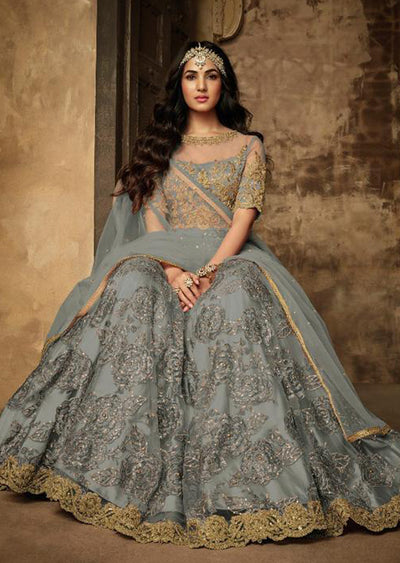 7202 - Grey - Unstitched Maisha Inspired - Indian Designer Bet Dress - Memsaab Online