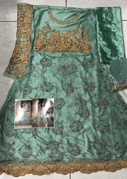 Green - Unstitched Maisha Inspired - Indian Designer Bet Dress - Memsaab Online
