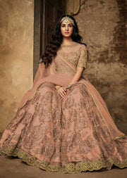 7202 - Peach - Unstitched Maisha Inspired - Indian Designer Bet Dress - Memsaab Online