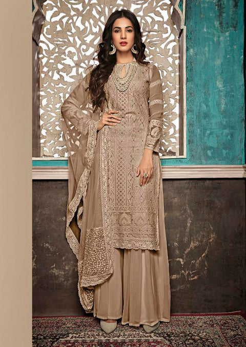 7406 Beige - Unstitched Maisha Inspired - Indian Ethnic indo Western style Dress - Memsaab Online