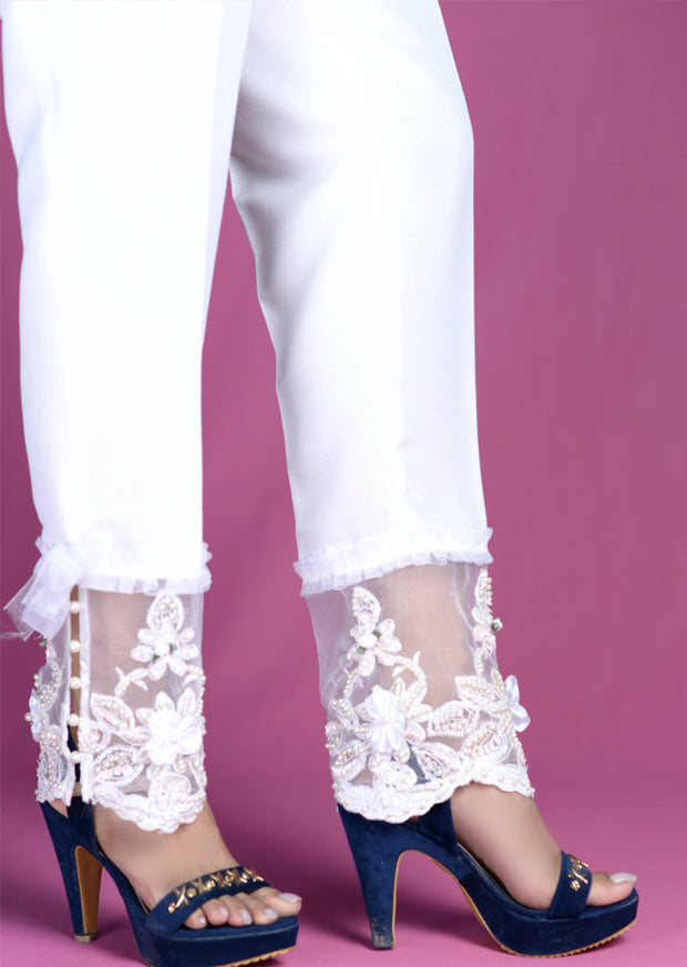 White Trouser With Hand Embroidery - Memsaab Online