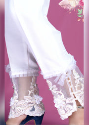 Design 795 - White Trouser With Hand Embroidery - Memsaab Online