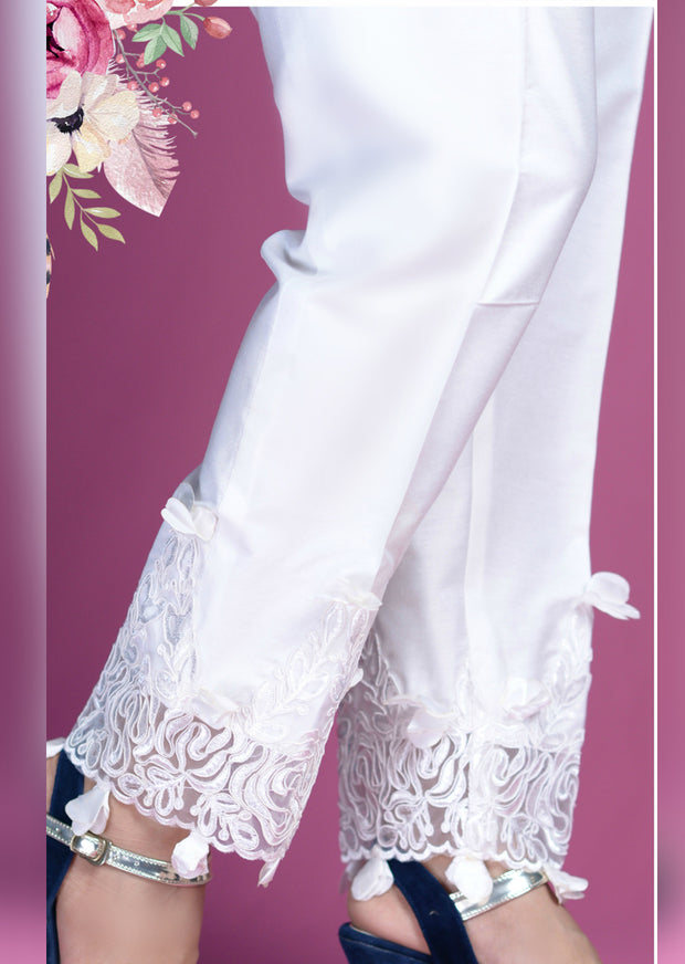 White Trouser With Embroidered Border - Memsaab Online