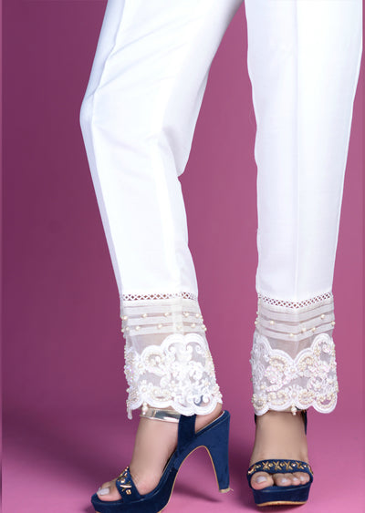 White Trouser With Hand Embroidery Border - Memsaab Online