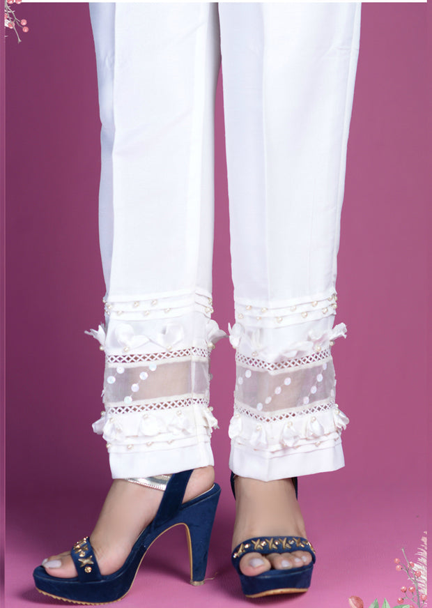 White Trouser With 3D Work - Memsaab Online
