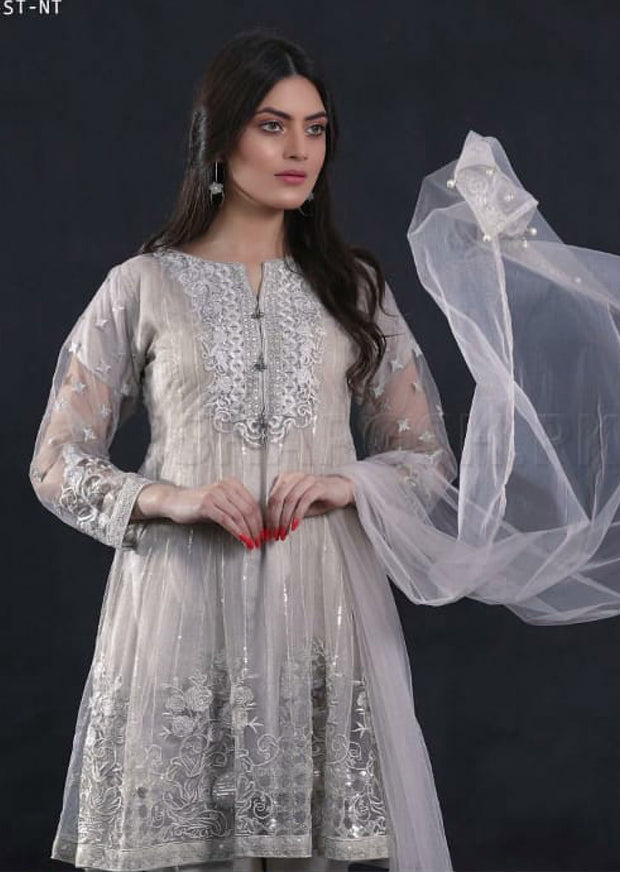 799 - Grey - Sha Posh - Ready to wear- Net - Formal - Pakistani Design - Memsaab Online