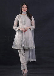 Grey - Sha Posh - Ready to wear- Net - Formal - Pakistani Design - Memsaab Online