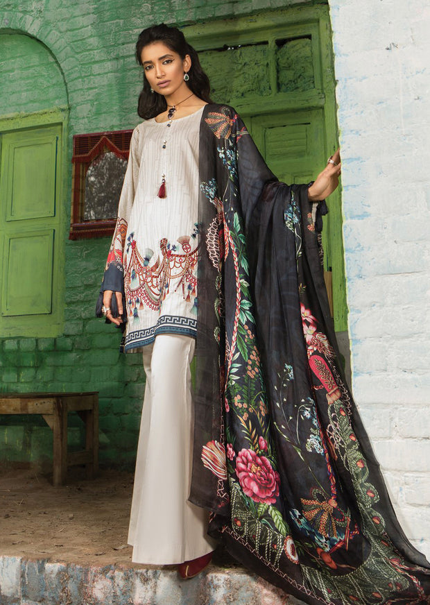 7A Maria B M Prints Unstitched 2019 - Pakistani Designer Embroidered Lawn Suit Spring / Summer UK DELIVERY - Memsaab Online