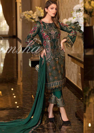 F - 1607 Ramsha Vol 16 - Readymade Eid Embroidered Chiffon Collection 2019 Pakistani Designer wear - Memsaab Online
