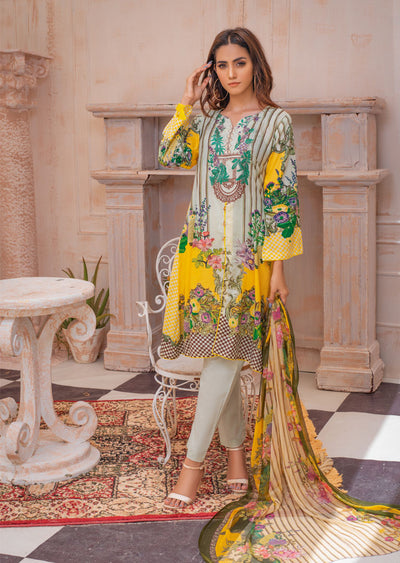 AMT20030 - Readymade Embroidered Lawn Suit - Memsaab Online