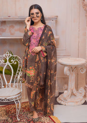 AMT20011 - Readymade Brown Embroidered Lawn Suit - Memsaab Online