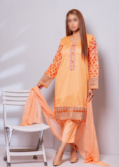 HK13 Readymade Peach Embroidered Linen Suit - Memsaab Online