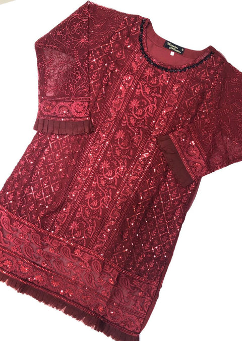 MK10 Red Chiffon Embroidered Kurti / Shirt Readymade - Memsaab Online