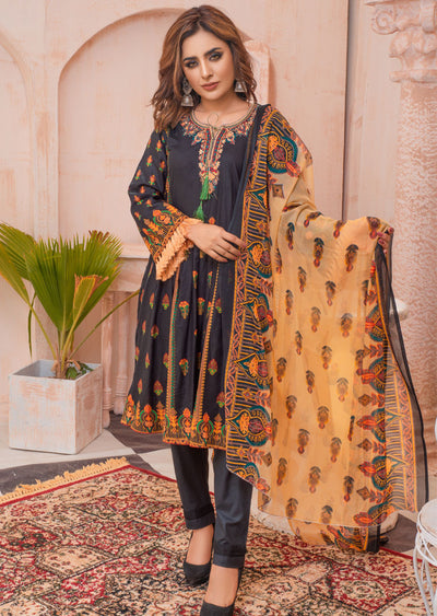 AMT20018 - Readymade Black Embroidered Lawn Dress - Memsaab Online